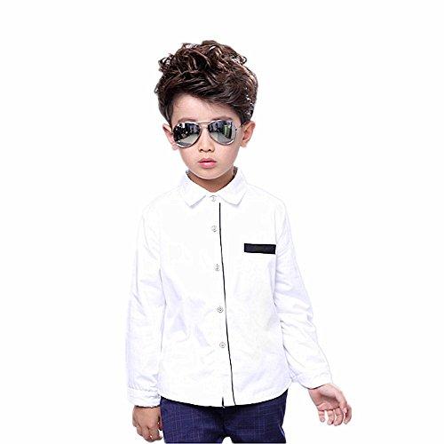 Danapp nuova versione coreana del ragazzo colore solido camicia camicia bianca a maniche lunghe colore solido camicia camicia bianca bianco white 120 cm