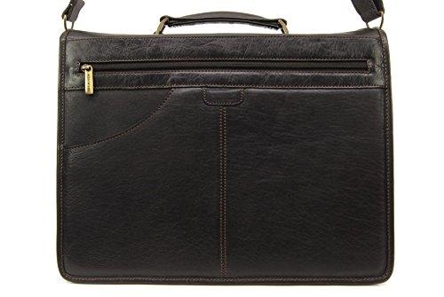 Grande Borsa Valigetta per portatile di ASHWOOD in pelle - Gareth Marrone scuro