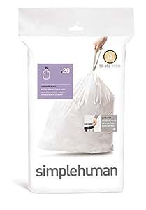 simplehuman - Code Q, Custom Fit Bin Liners, 20 Pack - 50-65 Litre