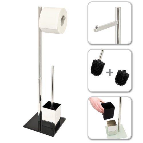 bremermann® WC-Ständer, WC-Garnitur, WC-Bürste, Edelstahl rostfrei, Sicherheitsglas, schwarz