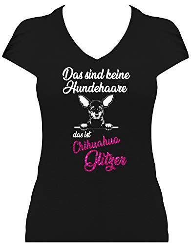 BlingelingShirts Shirt Damen Glitzer Chihuahua Das sind Keine Hundehaare das ist Chihuahua Glitzer Hund, T-Shirt, Grösse XXL, schwarz Druck weiß und pink GL - Chihuahua-schwarzes T-shirt