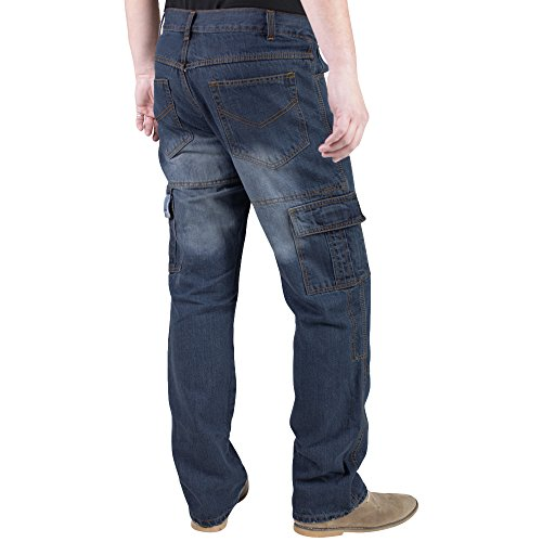 Juicy Trendz Men's Motorcycle Motorbike Cargo Jeans Protection Lining Trouser include Armours D-CARGO