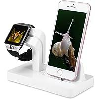 ALLCACA 2 en 1 Estación de Carga para iPhone/Apple Watch Serie 1&2&3/iPad Mini Dock iPhone5/5s/6/6S/6plus/7/7plus/8/8plus/X Cargador Apple Watch, Blanco