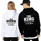 Friend Shirts King Queen Hoodie Pärchen Pullover Set Mit Datum Couple Pullover Kapuze Paar Pullis Sweatshirt Partner Schwarz