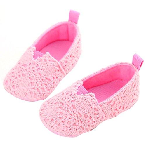 kingko® Säuglingsbaby -Beleg auf Schuhe Anti-Rutsch-erster Wanderer Rosa