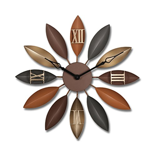 Pocket watch Wohnzimmer schmiedeeiserne Uhr stumm Vintage Wanduhr handgemachte kreative Uhr (Color : Brown)