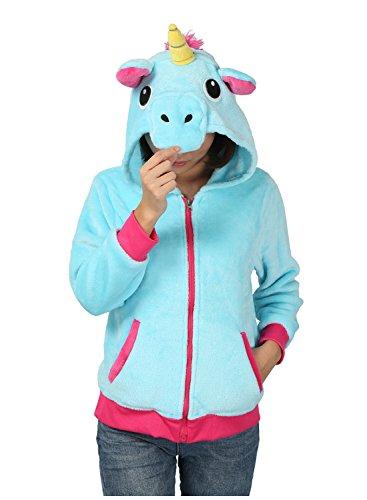 osplay Sweatshirt Halloween Kostüm Hoodies Einhorn Seitentaschen Reißverschluss Mit Kapuze (M, Blau) (Halloween Hoodies)