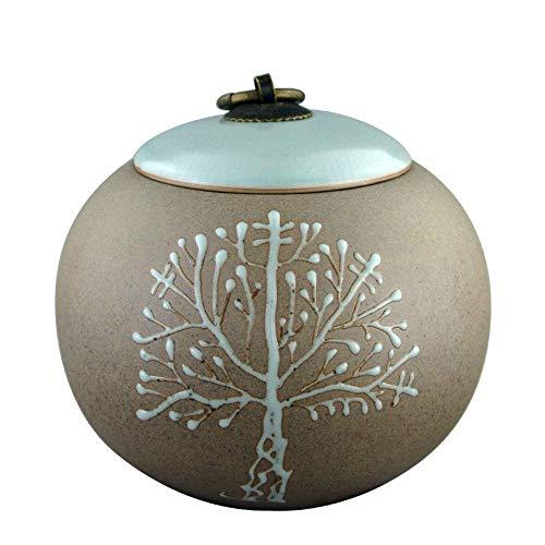 NWZW Begräbnis Urnen Memorial Container Baum des Lebens Keramikherstellung Geeignet für Zuhause oder Bestattung,Green