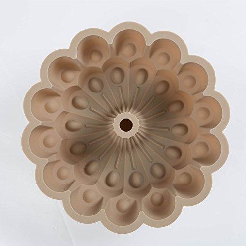 sypure (TM) 100% Food Grade piuma di pavone a forma di pasticceria Pane Formaggio Torta di compleanno Stampo in silicone bakeware, Grey