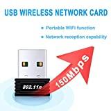 WiFi Adapter, USB WiFi Network Dongle Adapter LAN Card 2.4G/150M for Desktop Laptop PC, Compatible with Windows 10/8.1/8/7/2000/XP/Vista