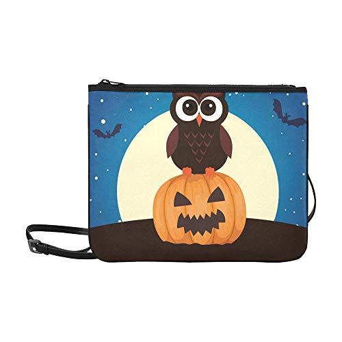 WYYWCY Halloween Eule Kürbis auf Nacht benutzerdefinierte hochwertige Nylon dünne Clutch Cross Body Bag Schultertasche