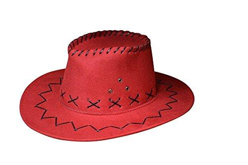 Miobo Cowboyhut Westernhut Cowgirl australien Texas Cowboy Hut Hüte Western für Erwachsene und Kinder (One Size, rot für Kinder)