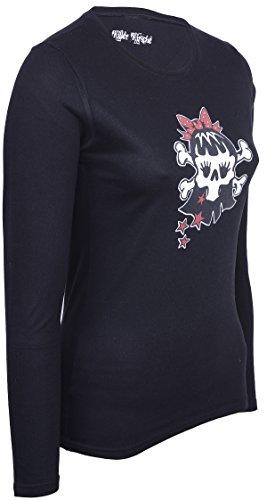 Killer Kirsche Rockabella GIRLIE Skull X-Bones langarm Shirt LONGSLEEVE Rockabil Schwarz mit buntem Motiv