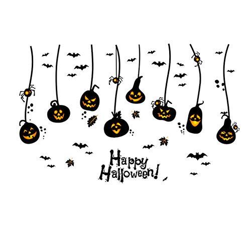 Happy halloween zucche appese pipistrelli ragni adesivo murale cartone animato sfondo porta finestra adesivi murali casa divertente halloween 60 * 90cm