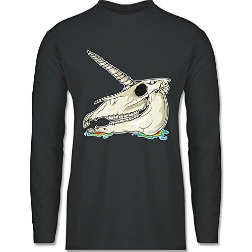 Statement Shirts - Einhorn Totenkopf - Longsleeve / langärmeliges T-Shirt für Herren Anthrazit