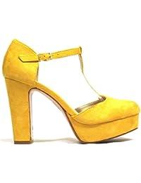 Sandalia de para mujer con tacón Benini A7170 color amarillo, cierre con hebilla