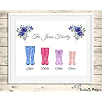 Personalised Wellington Boots Family Watercolour Premium Print Picture A5, A4 & Framed Options, Welly Art - Design 5