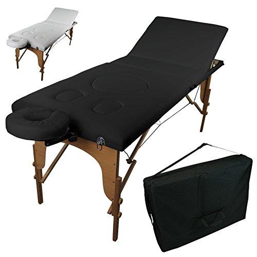 Vivezen Table de massage pliante pour femme enceinte 3 zones en bois avec panneau Reiki + accessoires et housse de transport – Deux coloris – Norme CE