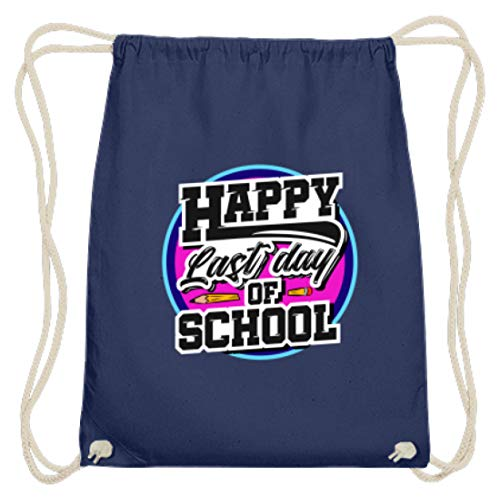 Happy Last Day Of School Abi Geschenk Abitur Klasse 2019 Realschule Gymnasium Schule - Baumwoll Gymsac -37cm-46cm-Marineblau