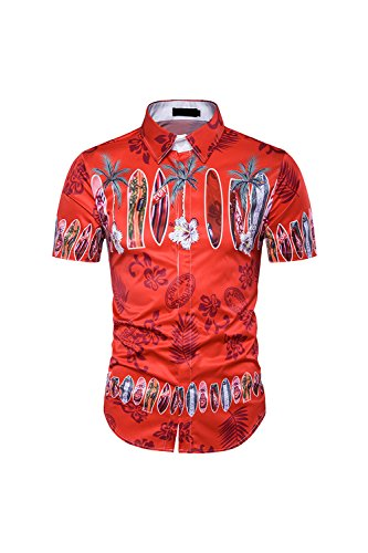 Yacun-Hombres-Camisas-Hawaianas-Rojo-Casual-Beach-Short-Sleeve-Tee-Red-M