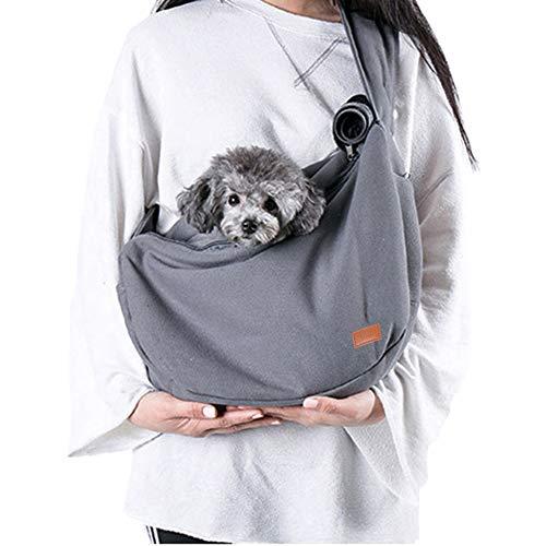 Louvra Hundetasche Single-Schulter Rucksack für Hunde und Katze Tragetuch mit Verstellbare Gepolsterte Schultergurt Umhängetasche Nylon Grau/Blau -