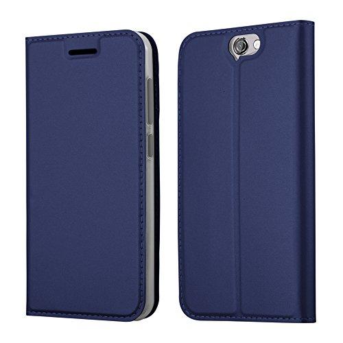 Cadorabo Hülle für HTC ONE A9 - Hülle in DUNKEL BLAU – Handyhülle mit Standfunktion und Kartenfach im Metallic Look - Case Cover Schutzhülle Etui Tasche Book Klapp Style