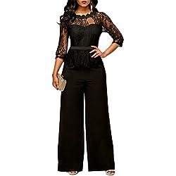 YYF Femme Combinaison avec Manches en Dentelle Partie de Soiree Les Combinaisons Jumpsuit Pantalons Rouge Vert Noir et Bleu