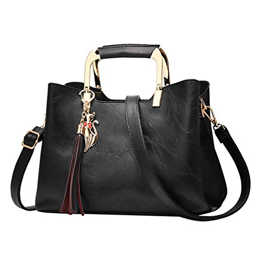 XZDCDJ UmhängeTaschen Damen Handtasche Gross Frauen Mode Einfache Reine Farbe Single Shoulder Messenger Bags Schwarz