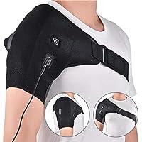 Winnerruby Ortesis de Hombro con calefacción, Almohadilla de Calentamiento de Hombro Ajustable USB Apta para Hombres y Mujeres