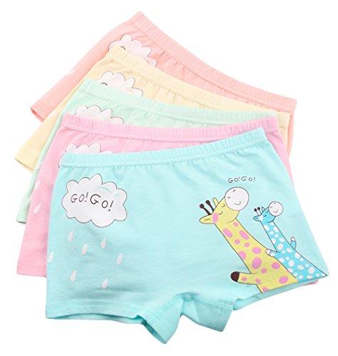 Hipster-slip Größe 11 (Bevalsa 5er Pack sportliche Mädchen Baumwolle Pantys Hipster Shorts Süß Unterwäsche Slips Set für Kinder Größe 2 - 12 Jahre)