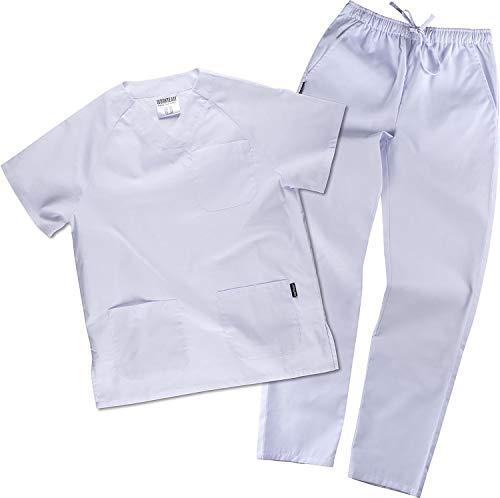 Work Team Uniforme Sanitario, con elástico y cordón en la Cintura, Casaca y Pantalon Unisex Blanco...