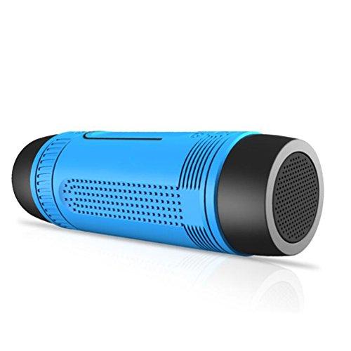Bluetooth-Lautsprecher Portable Bluetooth 4.0 Stereo Mit Lichtfunktion 12-Stunden-Playtime Bass-Port Und Eingebautes Mikrofon Wasserdichte Unterstützung FM TF-Karte AUX Mit Bike Bracket & Hook Kann Als Notstrom Verwendet Werden,Blue (Portable Dock Live)