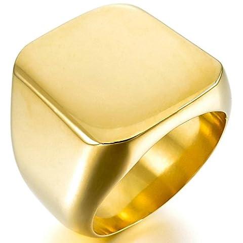 Epinki,Fashion Jewelry Men's Stainless Steel Rings Gold Signet Polished Biker Size P 1/2