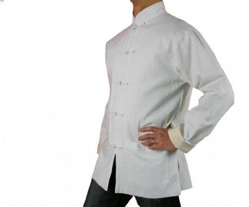 Lin Premium Col Mao Veste Blanche Tai Chi Arts Martiaux Blouson Homme Tailleur #104