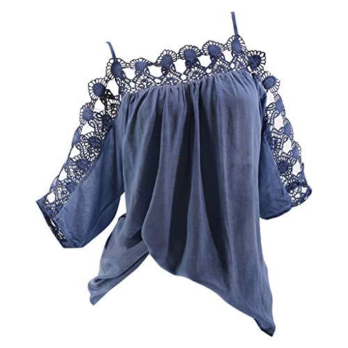 Mutterschaft Geraffte V-neck Tees (TMOTYE Damen T-Shirt Kurzarm Sommerhemd Lose Sexy Einfarbig Spitze Spitze Schulterfrei Top Large Size,XXXXXL)