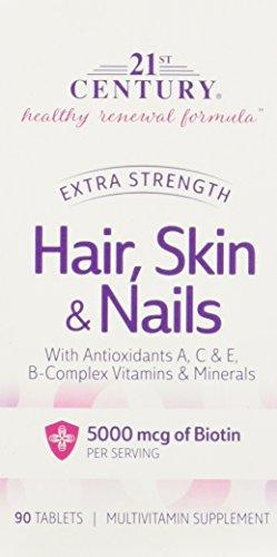 Cheveux, peau et ongles, Extra Strength, 90 comprimés - 21e siècle