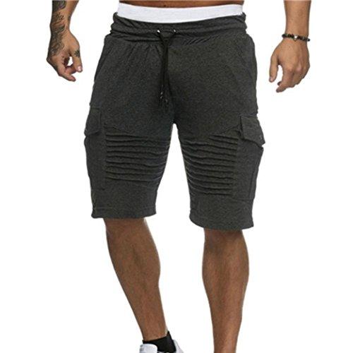 OSYARD Herren Shorts Badehose Breathable Beach Mid Zipper Surfende Sporthosen(L, Grau)