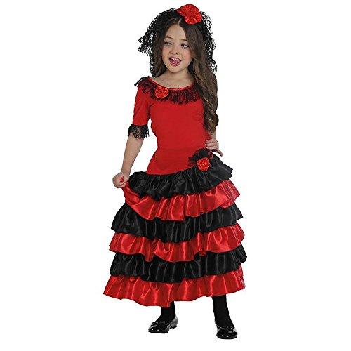 Kinder Kostüm Spanierin Flamenco Tänzerin Karneval Fasching Gr.128