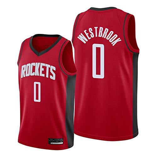 Rockets 0# Westbrook NBA Herren Basketball Trikot Fan Edition Vintage Basketball Uniform Fitness T-Shirt Top Weste Rot,1,XL(185cm/85~95kg)