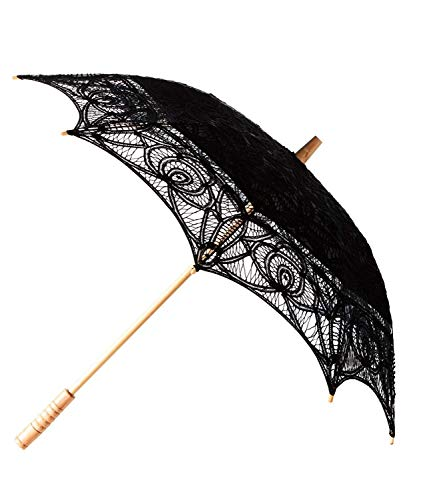 fürThe 1 for U viktorianischer Stil Battenburg Sonnenschirm aus Spitze - Schwarz
