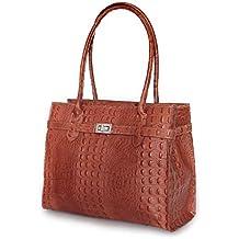 fb20b9cb9e7d8 IO.IO.MIO Leder Handtasche oder Schultertasche für Damen Kroko und  Glattleder Farbwahl schwarz