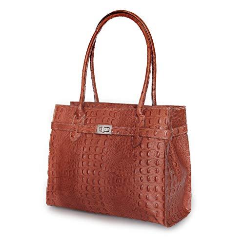 IO.IO.MIO Damen echt Leder Tasche Handtasche Tragetasche Henkeltasche zauberhaft elegante Midi Kelly Stil Frauen Handtaschen Taschen Kroko cognac, 33x25x15 cm (B x H x T)