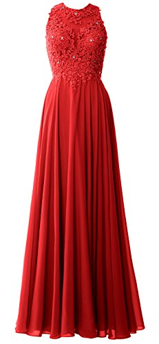 MACloth Elegant High Neck Long Prom Dress Lace Chiffon Formal Party Evening Gown red