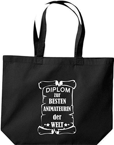 shirtstown grande borsa della spesa, diplom A MIGLIOR animateurin DEL MONDO Nero