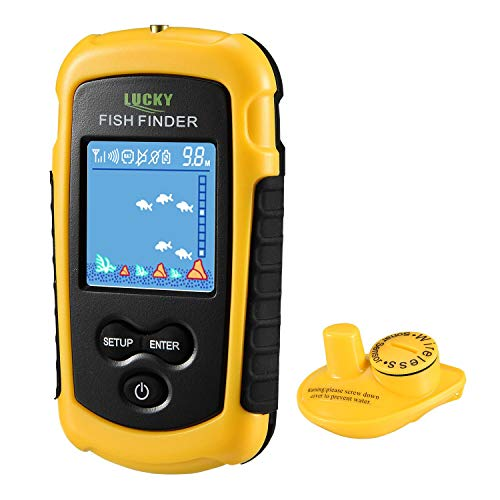 LUCKY Fischfinder Wireless Farbe Tragbarer Portable Angeln Sonar Sensor LCD Tiefe Finder Echolot Tiefe Finder