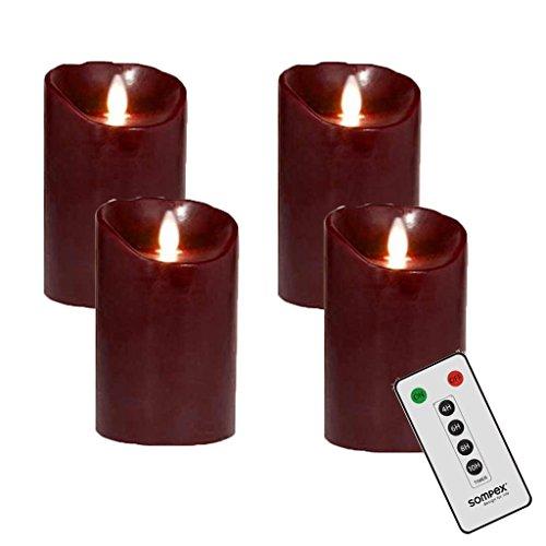 4er Adventskranzset! Sompex De la llama velas LED V14 de colour burdeos 12,5 cm con mando a distancia