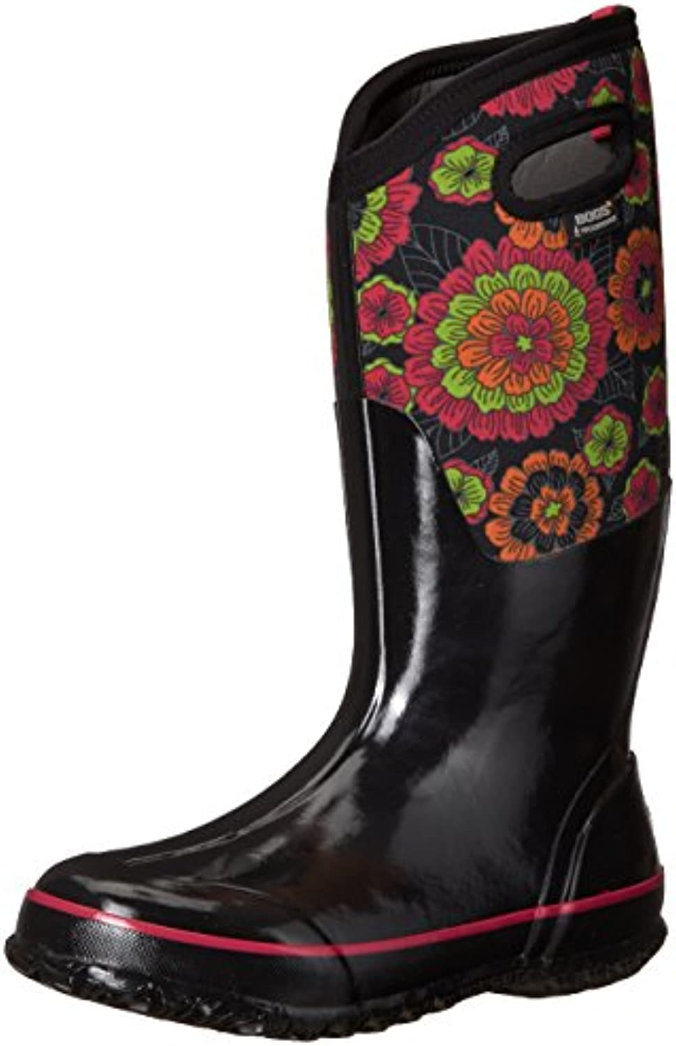 Bogs Ladies Classic Pansies Black Insulated Warm Waterproof Wellies Boot 72117-UK 8 (EU 42)
