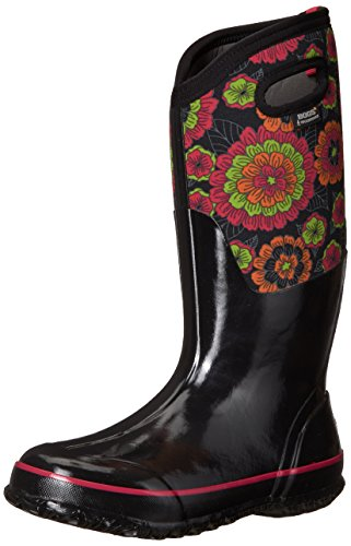 Bogs Womens Classic Pansies Black Multi Rubber Boots 39 EU (Stretch-mid Calf Boot)