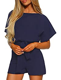 40a4f461f6 Asvivid Womens Jumpsuit Short Sleeve Belted Playsuit Loose Casual Long/Short  Romper Size 8-