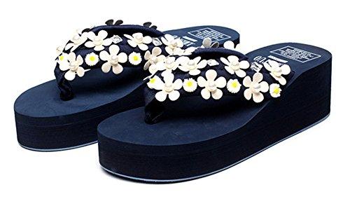 Good Night Élégantes fleurs perlées talon compensé lanières Tongs Bleu